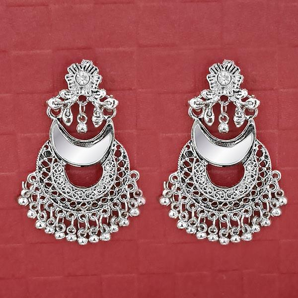 Jeweljunk Silver Plated Austrian Stone Dangler Mirror Earrings
