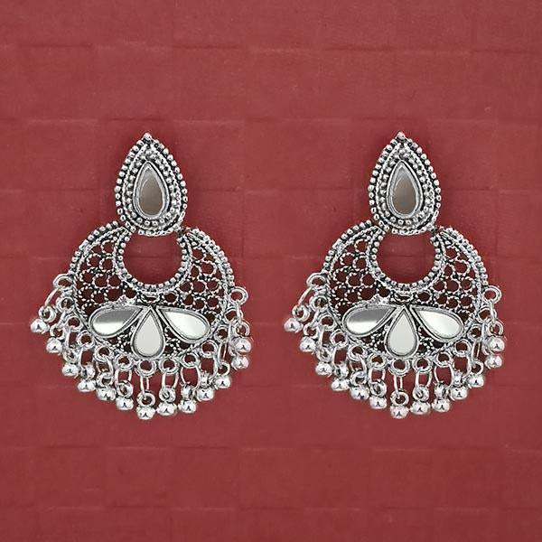 Jeweljunk Silver Plated White Kundan Dangler Earrings