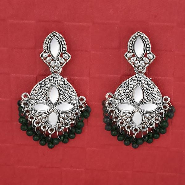 Jeweljunk Silver Plated Green Beads Mirror Dangler Earrings