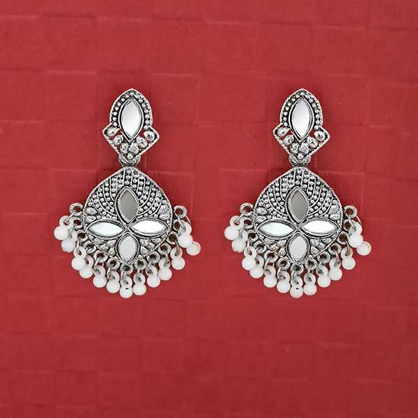 Jeweljunk Silver Plated White Beads Mirror Dangler Earrings