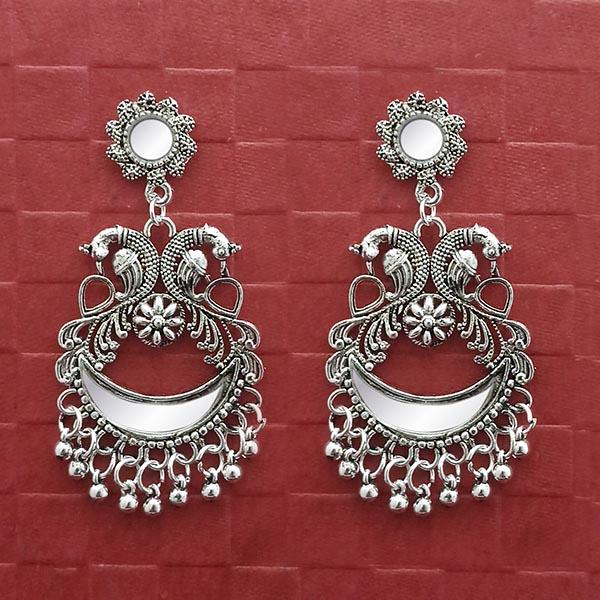 Jeweljunk Silver Plated Peacock Mirror Jhumki Earrings