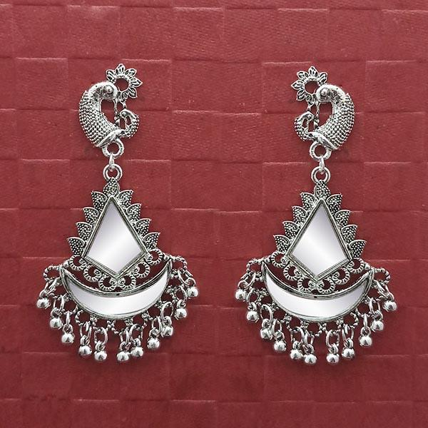 Jeweljunk Silver Plated Peacock Mirror Dangler Earrings