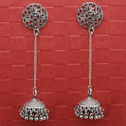 Jeweljunk Oxidised Chain Jhumki Earrings -1314764