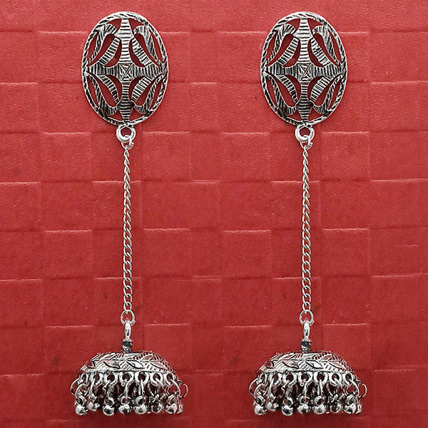 Jeweljunk Oxidised Chain Jhumki Earrings
