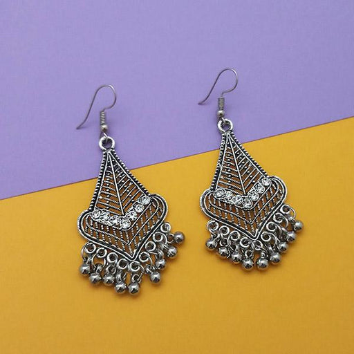 Jeweljunk Oxidised Plated White Austrian Stone Dangler Earrings -1314774