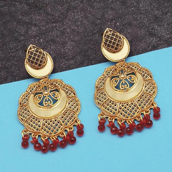 Jeweljunk Gold Plated Maroon Beads Mirror Dangler Earrings