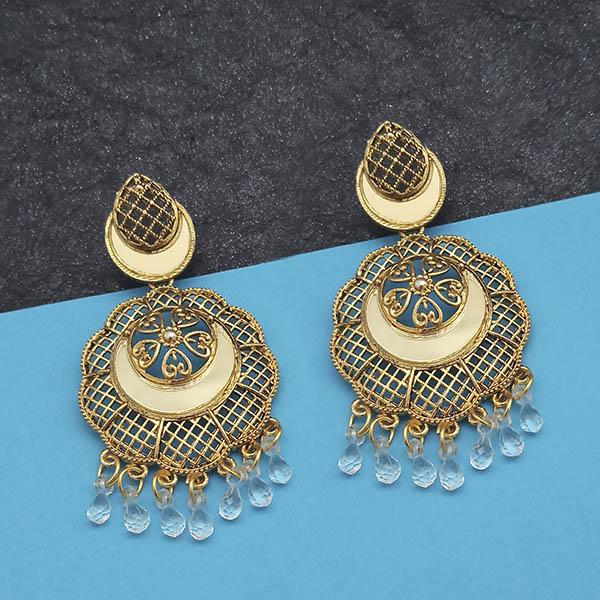 Jeweljunk Gold Plated White Beads Mirror Dangler Earrings