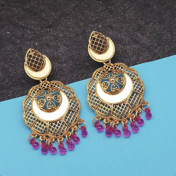 Jeweljunk Gold Plated Purple Beads Mirror Dangler Earrings
