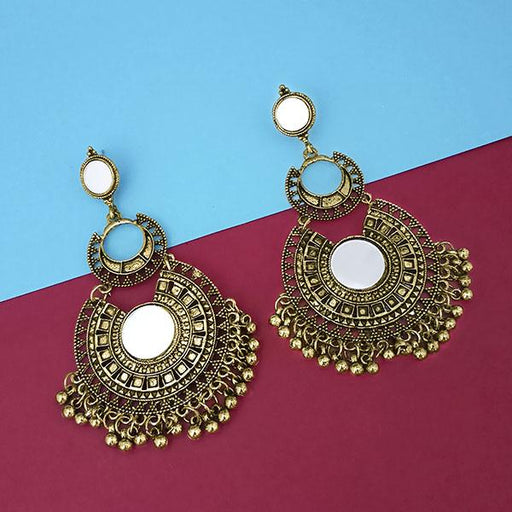 Jeweljunk Gold Plated Mirror Dangler Earrings