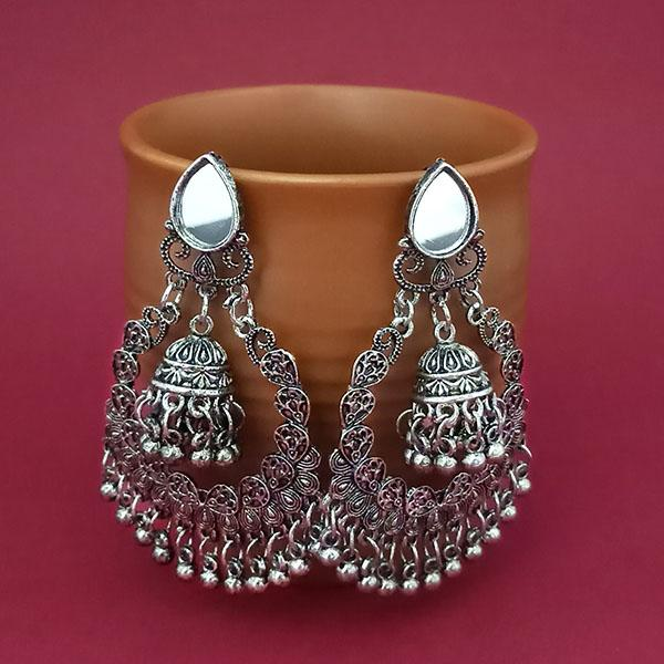 Jeweljunk Silver Plated Mirror Dangler Earrings