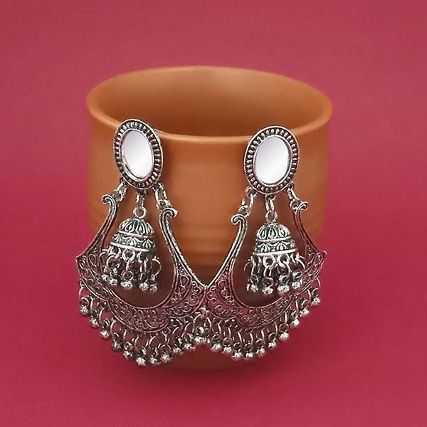Jeweljunk Silver Plated Mirror Dangler Jhumki Earrings