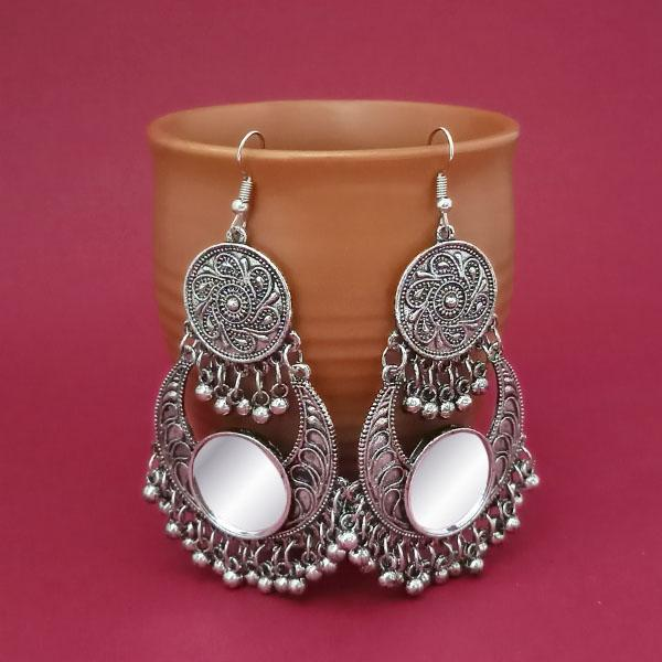 Jeweljunk Silver Plated Mirror Dangler Afghani Earrings