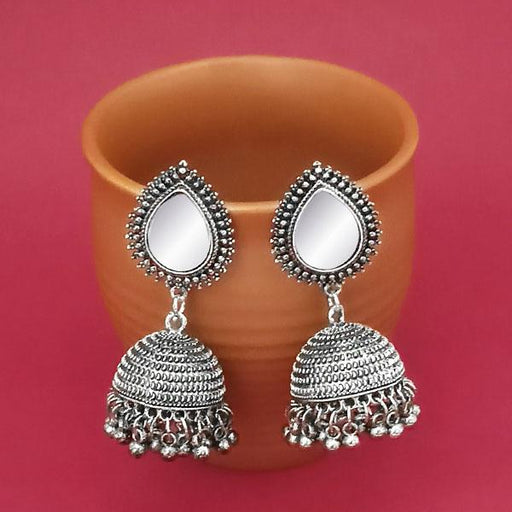 Jeweljunk Silver Plated Mirror Jhumki Earrings