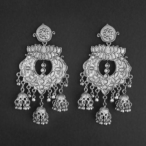 Jeweljunk Silver Plated Afghani Dangler Earrings  - 1314863