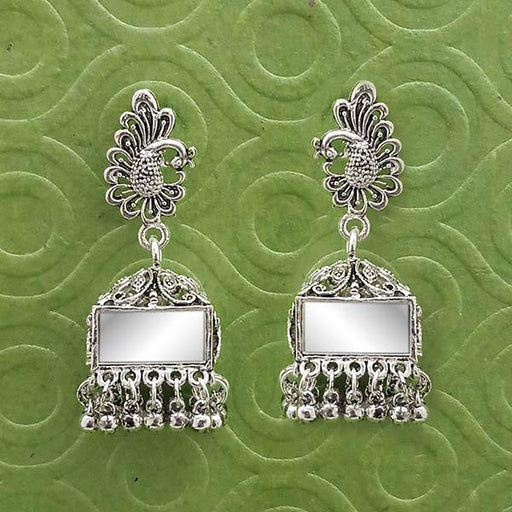 Jeweljunk Silver Plated Mirror Jhumki Earrings  - 1314903