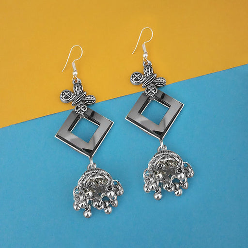 Jeweljunk Oxidised Plated Mirror Jhumki Earrings - 1314940A