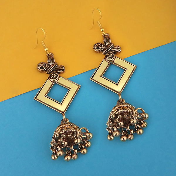 Jeweljunk  Antique Gold Plated  Mirror Jhumki Earrings - 1314940B