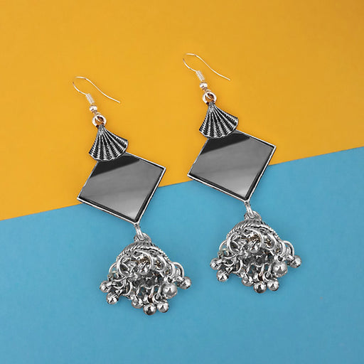 Jeweljunk Oxidised Plated Mirror Jhumki Earrings - 1314942A
