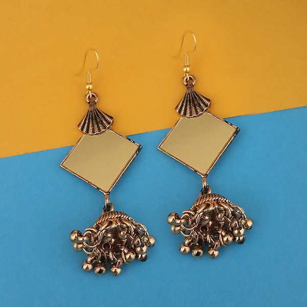 Jeweljunk  Antique Gold Plated  Mirror Jhumki Earrings - 1314942B