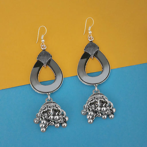 Jeweljunk Oxidised Plated Mirror Jhumki Earrings - 1314943A