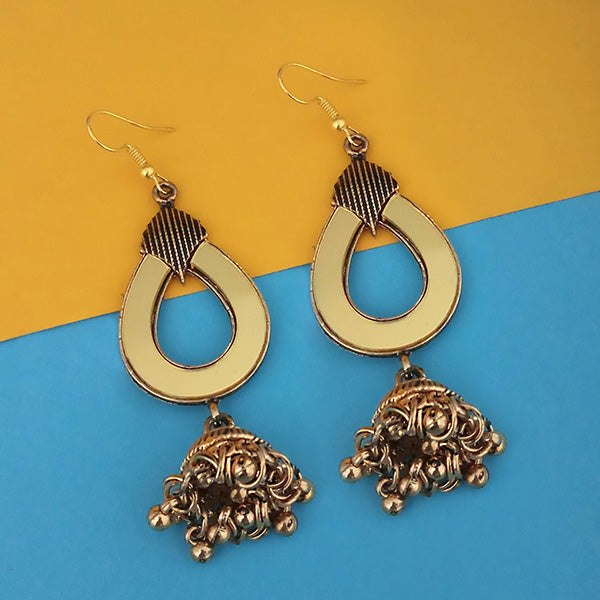 Jeweljunk  Antique Gold Plated  Mirror Jhumki Earrings - 1314943B