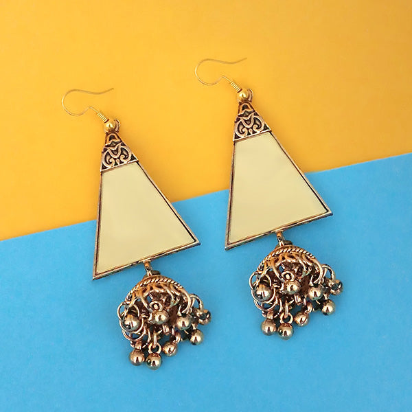 Jeweljunk  Antique Gold Plated  Mirror Jhumki Earrings - 1314948B