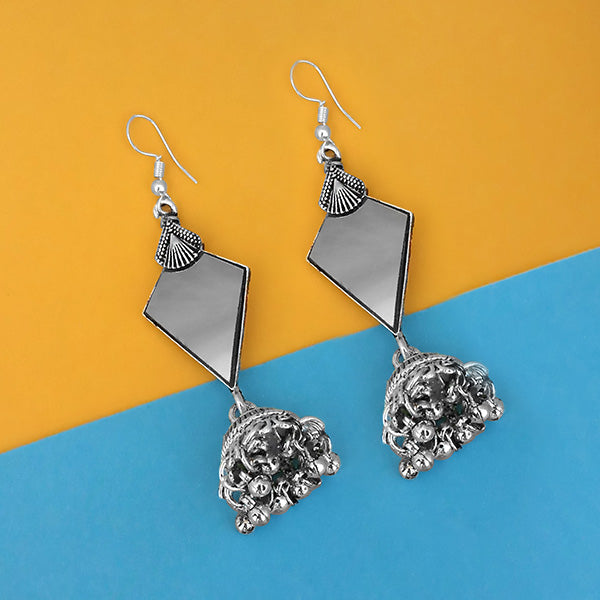 Jeweljunk Oxidised Plated Mirror Jhumki Earrings - 1314951A