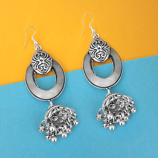 Jeweljunk Oxidised Plated Mirror Jhumki Earrings - 1314952A