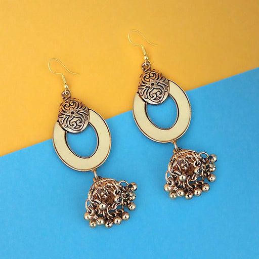 Jeweljunk  Antique Gold Plated  Mirror Jhumki Earrings - 1314952B