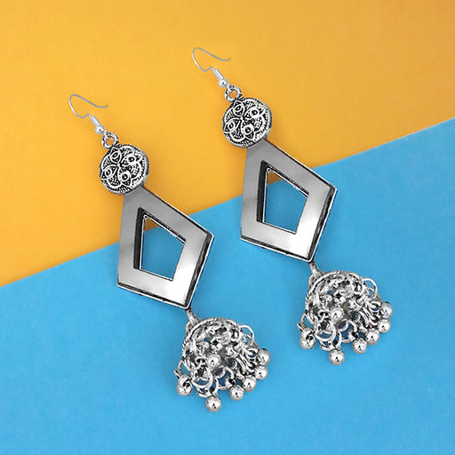Jeweljunk Oxidised Plated Mirror Jhumki Earrings - 1314954A