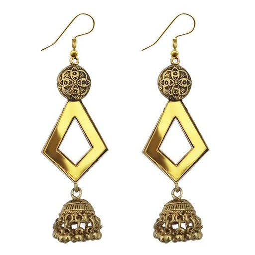 Jeweljunk  Antique Gold Plated  Mirror Jhumki Earrings - 1314954B