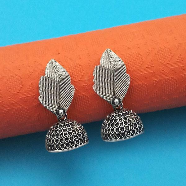 Jeweljunk Oxidised Plated Leaf Jhumki Earrings