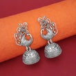 Jeweljunk Oxidised Plated Peacock Jhumki Earrings