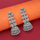 Jeweljunk Oxidised Plated Floral Jhumki Earrings
