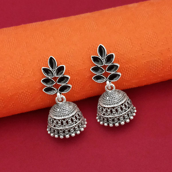 Jeweljunk Leaf Design Oxidised Jhumki Earrings  - 1315062