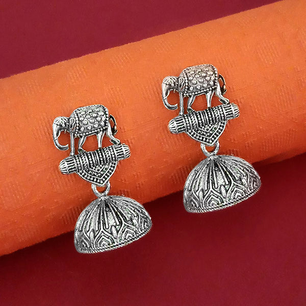 Jeweljunk Elephant Design Oxidised Jhumki Earrings  - 1315063