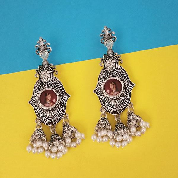 kriaa Austrian Stone Padmavati Inspired Silver Plated Dangler Earrings