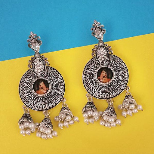 kriaa Austrian Stone Padmavati Inspired Silver Plated Dangler Earrings - 1315108B