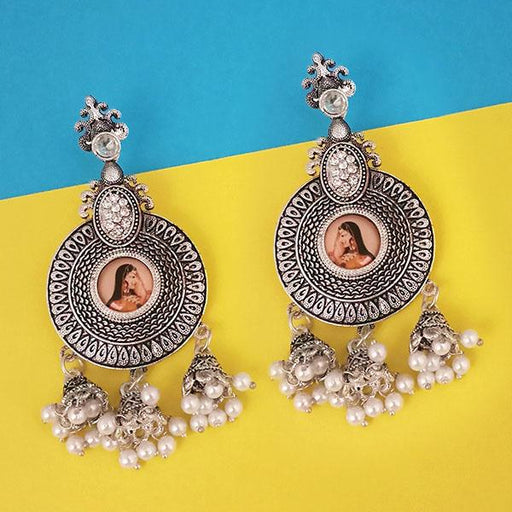 kriaa Austrian Stone Padmavati Inspired Silver Plated Dangler Earrings - 1315108C