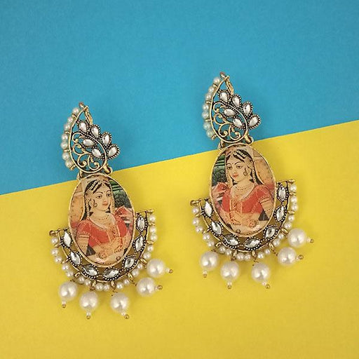 kriaa Padmavati Inspired Gold Plated Dangler Earrings - 1315109