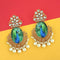 Kriaa Gold Plated Kundan Peacock Design Dangler Earrings