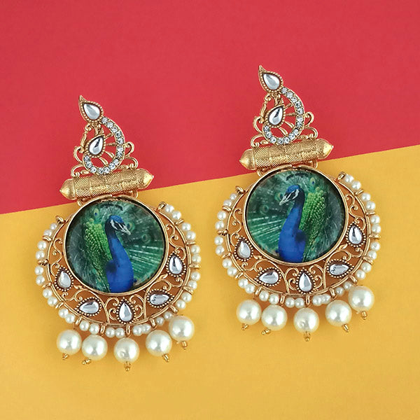 Kriaa Pearl Gold Plated Kundan Peacock Design Dangler Earrings