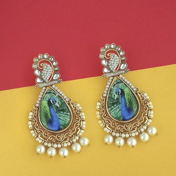 Kriaa Kundan Austrian Stone Peacock Design Dangler Earrings
