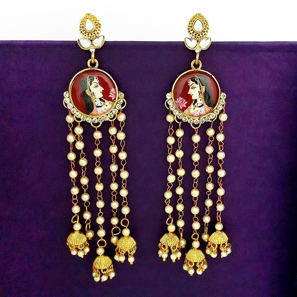 kriaa Austrian Stone Padmavati Inspired Gold Plated Chain Jhumki Earrings