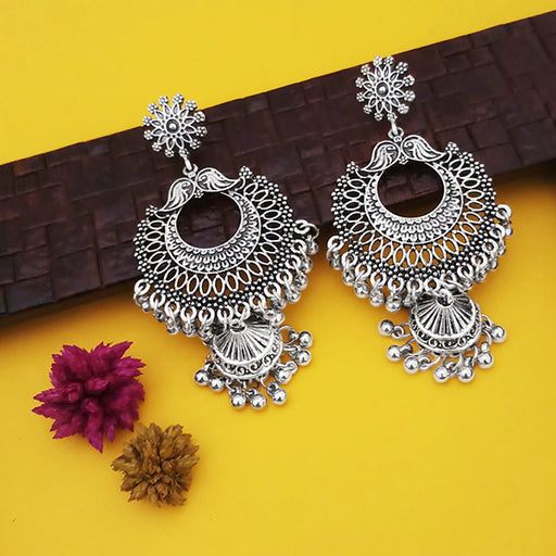 Jeweljunk Oxidised Plated Jhumki Earrings