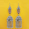 Jeweljunk Oxidised Plated Maroon Stone Chain Jhumki Earrings