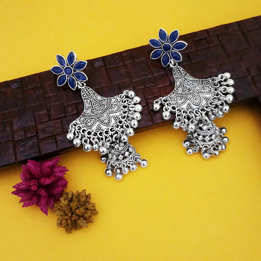 Jeweljunk Oxidised Plated Blue Stone Floral Design Jhumki Earrings