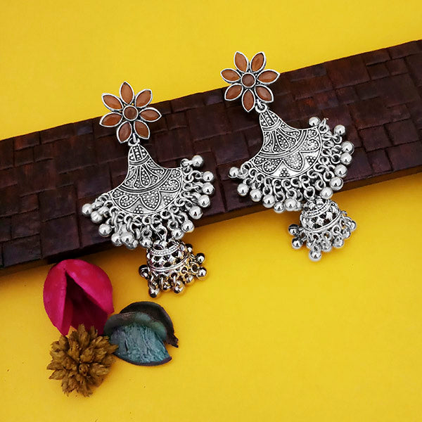 Jeweljunk Oxidised Plated Brown Stone Floral Design Jhumki Earrings