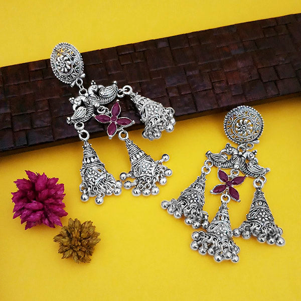 Jeweljunk Oxidised Plated Purple Stone Jhumki Earrings