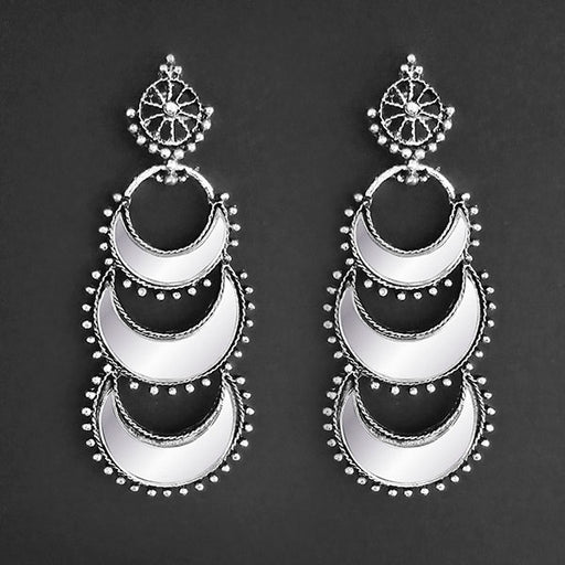Jeweljunk Silver Plated White Mirror Earrings
